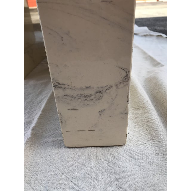 Antique White Vintage Postmodern Geometric Shaped Marble Coffee Table For Sale - Image 8 of 13