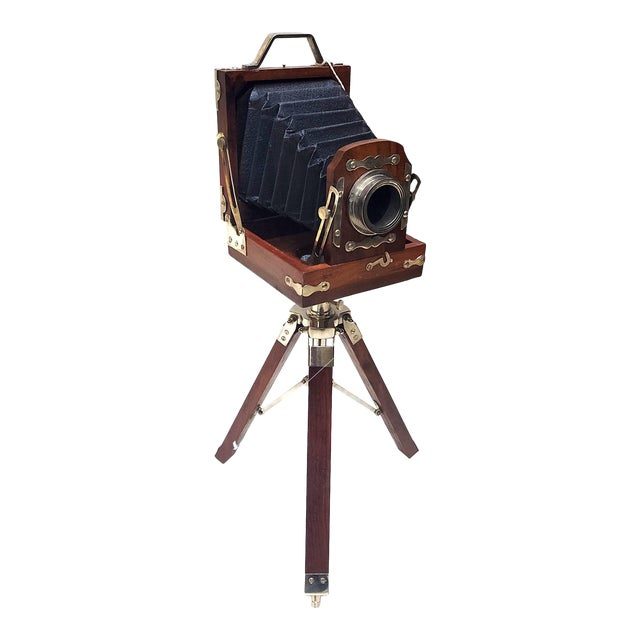 Vintage Nickel Plated Brass Camera with Tripod Stand Replica For Sale