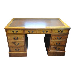 Vintage English Designer Burl Wood Leather Top Pedestal Desk For Sale