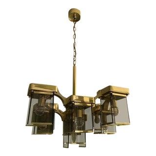 Sciolari Smoked Glass & Brass Cubist Chandelier