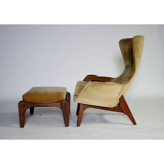 Adrian Pearsall Wing Chair for Craft Associates Model 2231-C and Ottoman For Sale - Image 9 of 11
