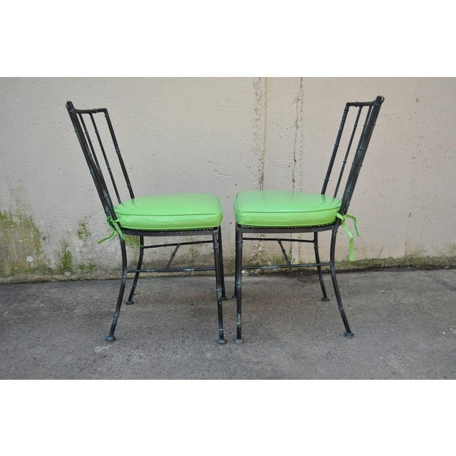 4 Vintage Mid Century Modern Hollywood Regency Metal Faux Bamboo Dining Chairs - Image 4 of 11