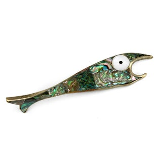 Vintage Mid-Century Abalone Silver Fish Bottle Opener For Sale