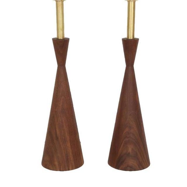 Customizable Samson Turned Walnut Table Lamps - Image 2 of 8