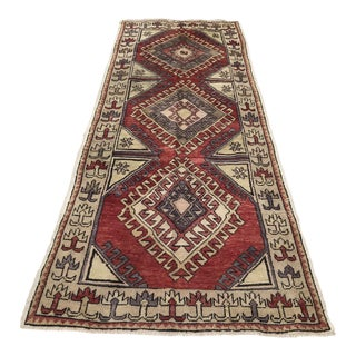 Hand Made Vintage Turkish Runner- 3′6″ × 9′ For Sale