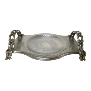 Mid-Century Hammered Aluminum Tray With Floral & Bow Handles For Sale
