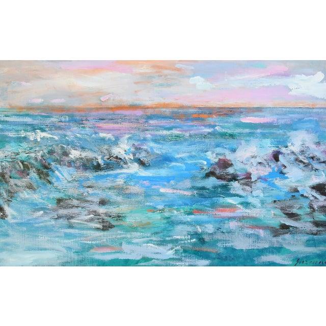 Canvas Juan Guzman Ventura California Crashing Ocean Waves Oil Painting For Sale - Image 7 of 10