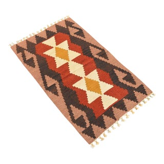 Turkish Handmade Kilim Rug Geometric Design Doormate Kilim Antique Wool Kilim Rug 2x3 Ft For Sale