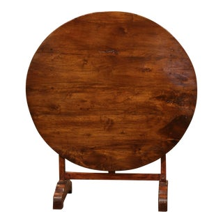 Mid-19th Century French Carved Walnut Tilt-Top Wine Tasting Table From Bordeaux For Sale