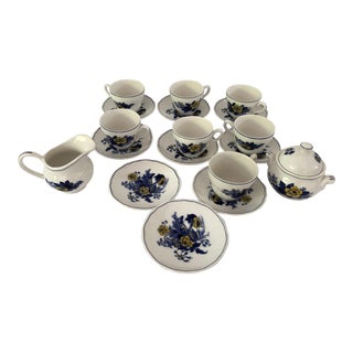 Vintage Enoch Wedgwood Blue & Yellow Tea Set 23 Pieces For Sale