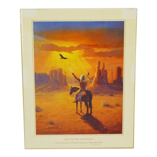 Vintage Native American Indian Print by M Caroselli Indian Prayer For Peace