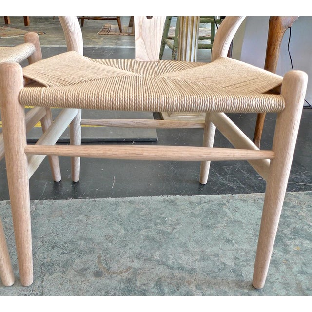 Contemporary Danish 1960s Style Wishbone White Oak Riff Wood Arm Chairs - Set of 6 For Sale - Image 12 of 13