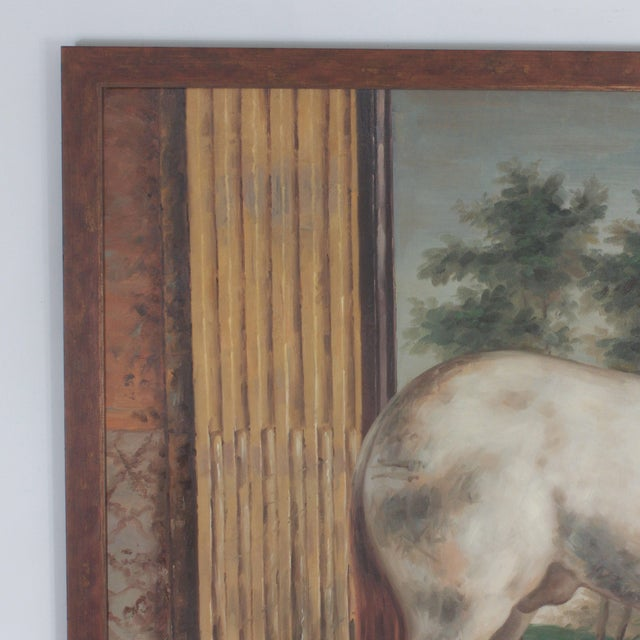 Mid 20th Century Mid Century Oil Painting on Canvas of a White Horse For Sale - Image 5 of 7