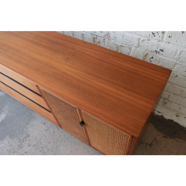 Kipp Stewart for Calvin Mid-Century Modern Walnut and Cane Dresser or Credenza For Sale - Image 12 of 13