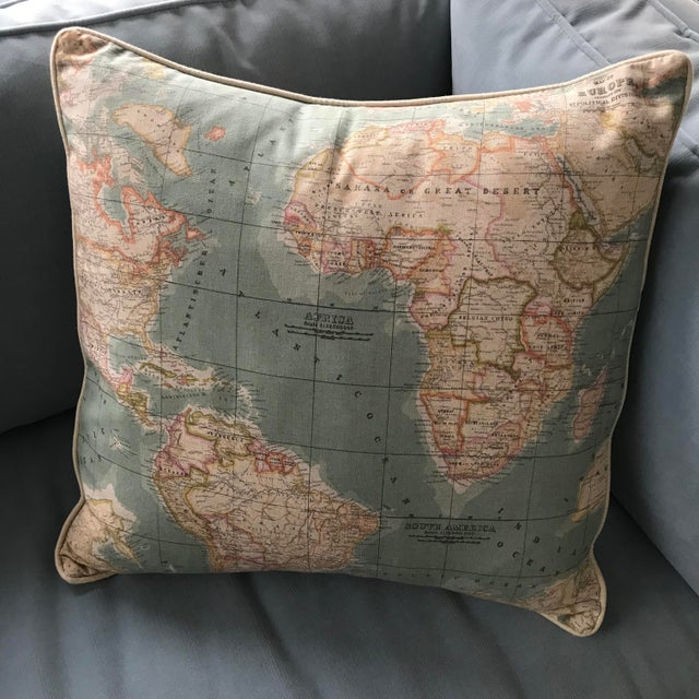 2010s Accent Pillow - World Map Pattern For Sale - Image 5 of 5