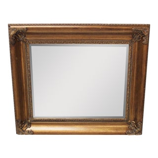 Vintage Gold Square Mirror For Sale