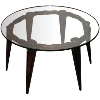 Fontana Arte Round Cocktail Table in Mahogany and Glass Italy Circa 1940 For Sale