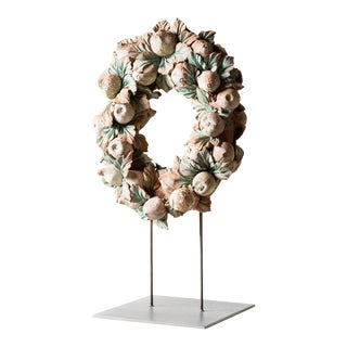 Mid 19th Century Antique Terra Cotta Wreath For Sale