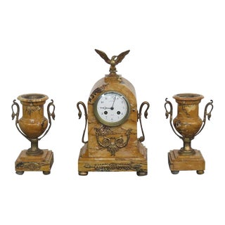Napoleonic Style Marble & Brass Clock & Urns - Set of 3