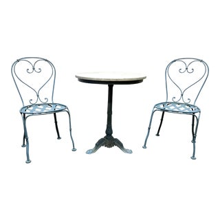Powder Blue Cast Metal Ice Cream Bistro Set - Marble Top Table & Pair of Chairs