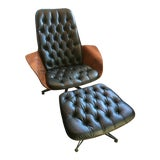 """Image of 1960s Vintage George Mulhauser for Plycraft """"Mr. Chair"""" Lounge Chair & Ottoman For Sale"""