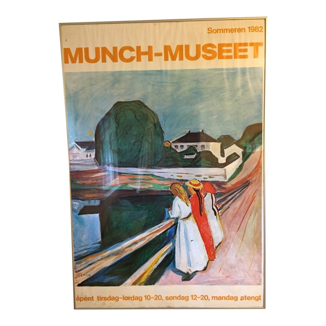 1980s Edvard Munch the Girls on the Bridge Museet Exhibition Poster Print For Sale