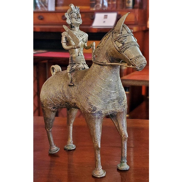 Antique Indian Dhokra Horse and Rider Sculpture For Sale - Image 10 of 11