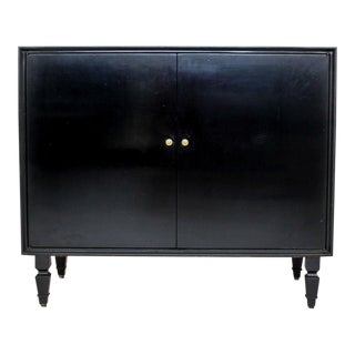 1960s Mid Century Modern Furnette Black Dry Bar Cabinet For Sale