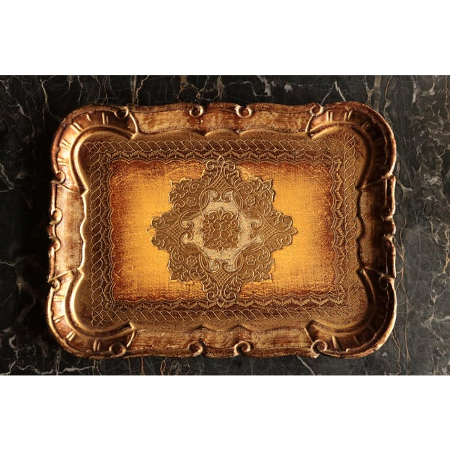 Golden Florentine Wood Tray - Image 3 of 7