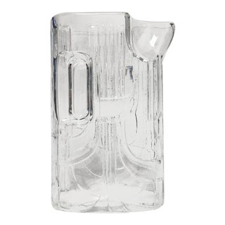 Modern Art Deco Revival Oblong Glass Pitcher For Sale