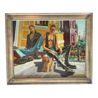 Late 20th Century Figurative San Francisco Street Scene Painting by Ramon Vidali, Framed For Sale