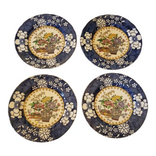 Set of Four Spode Chinoiserie Bread Plates For Sale