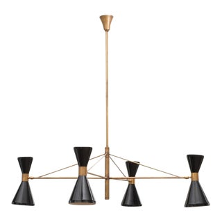 Italian 1950s Chandelier in Brass with Black-Lacquered Diabolo Lamps For Sale
