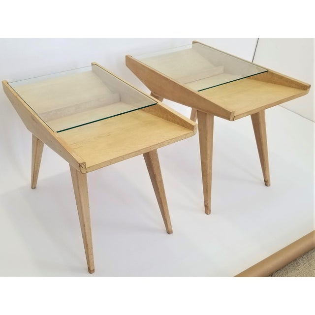 Contemporary Pair End Tables or Nightstands Magazine Style -1950s Vintage Blond Wood and Glass - Mid Century Modern Minimalist Sleek For Sale - Image 3 of 13