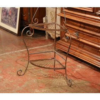 Four-Tier Patinated Iron Corner Shelf on Curved Feet Preview