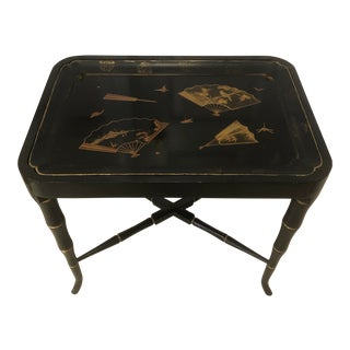 Antique Asian Lacquered Tray on Bamboo Style Base For Sale