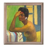 Image of Vintage Mid Century Modern Original Large Framed Female Portrait Painting For Sale