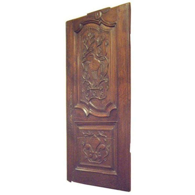 Brown 18th Century French Provincial Wood Carved Door Panel For Sale - Image 8 of 8