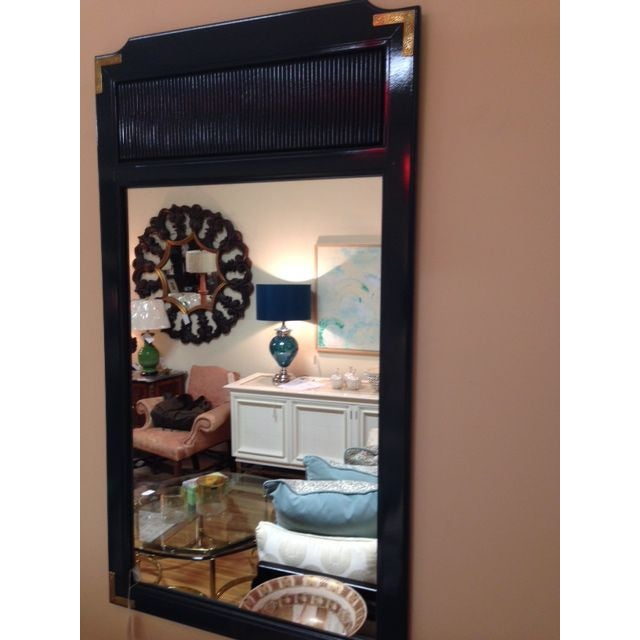 Teal Lacquered Mirror with Brass Trim - Image 4 of 4
