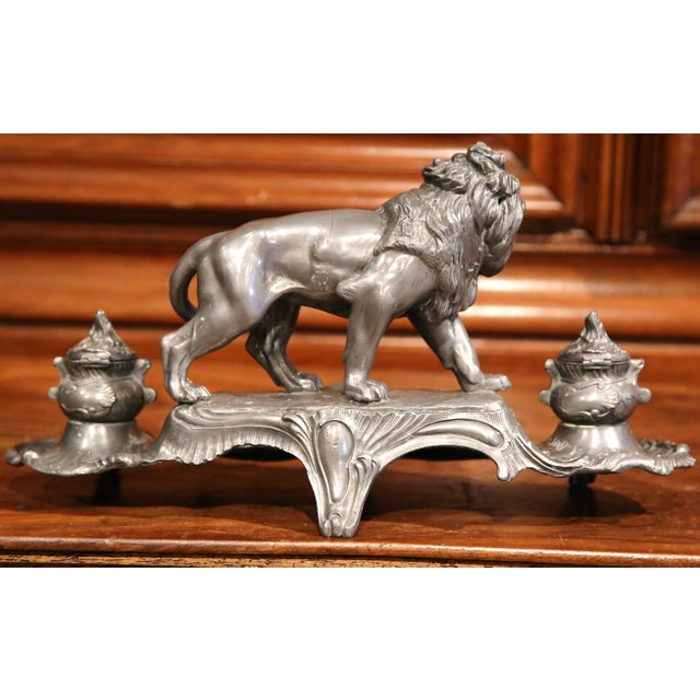 Large 19th Century French Pewter Inkwell with Lion Signed A. Bossu For Sale In Dallas - Image 6 of 8