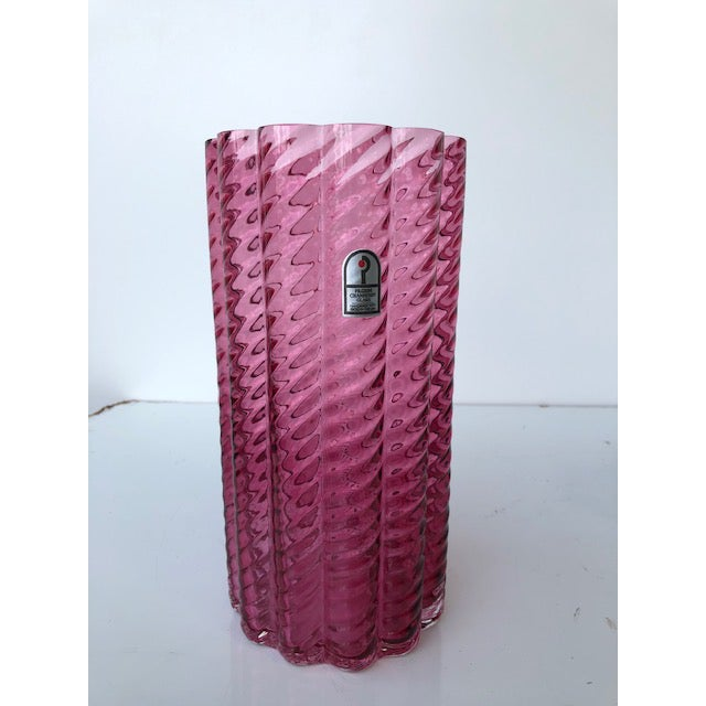 Mid-Century Modern 1980s Fluted Textured Pink Glass Vase For Sale - Image 3 of 8