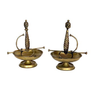 Vintage Brass Sword Handle Ashtrays - A Pair For Sale