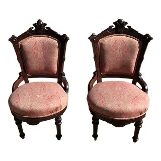Late 19th Century Vintage Victorian Carved Wooden Side Parlor Chairs - A Pair For Sale