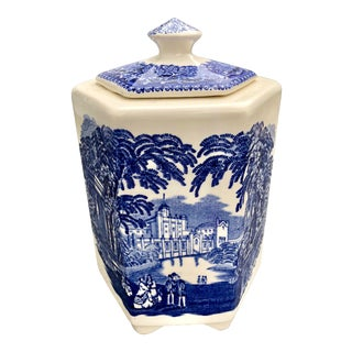 1940s Country Mason's Ironstone Vista Blue and White Covered Canister For Sale