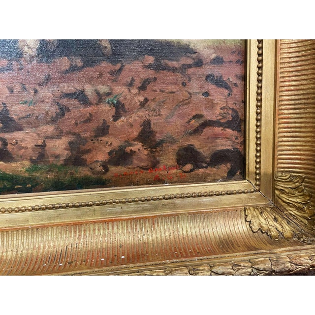 """Mid-19th Century French Oil on Canvas Cows Painting """"Plowing in Nivernais"""" For Sale - Image 11 of 13"""