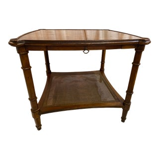 Late 20th Century Burled Walnut Two-Tiered Side Table For Sale