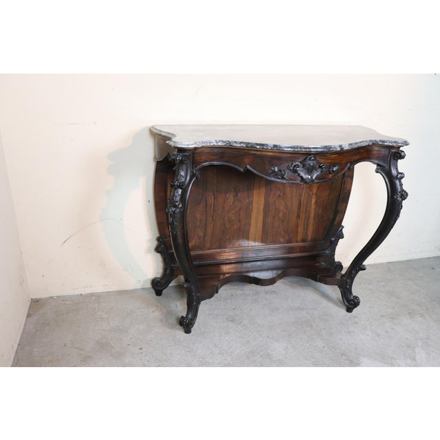 19th Century Italian Louis Philippe Rosewood Carved Marble-Top Console Table For Sale - Image 4 of 12