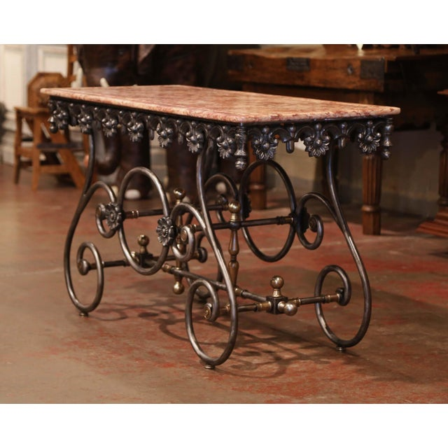 French Late 20th Century French Polished Iron Pastry Table With Red Marble Top For Sale - Image 3 of 11