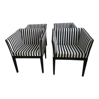 Pinstriped Black & White Chairs - Set of 4 For Sale