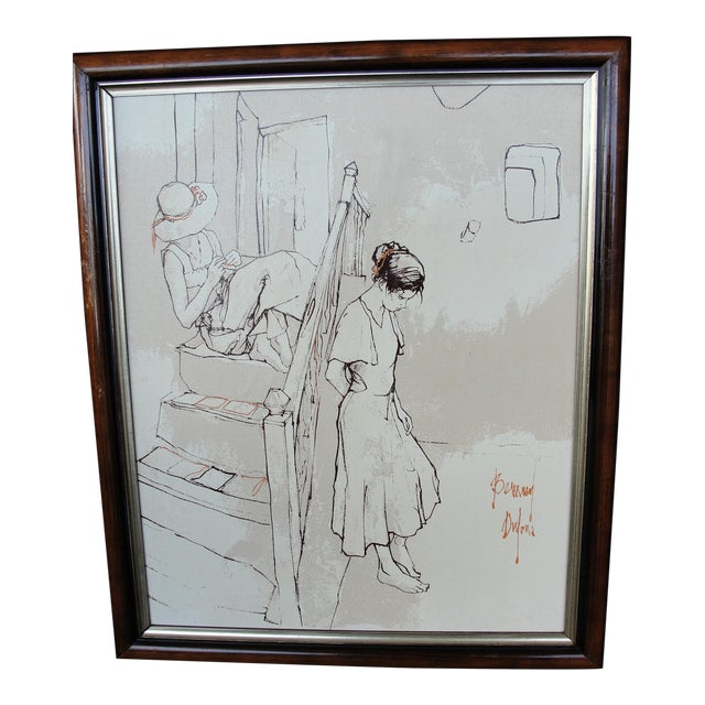 Bernard Dufour Study Painting 2 Girls on Stairs For Sale